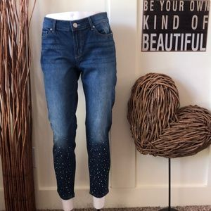Juicy Couture cropped skinny jeans w/embellish leg